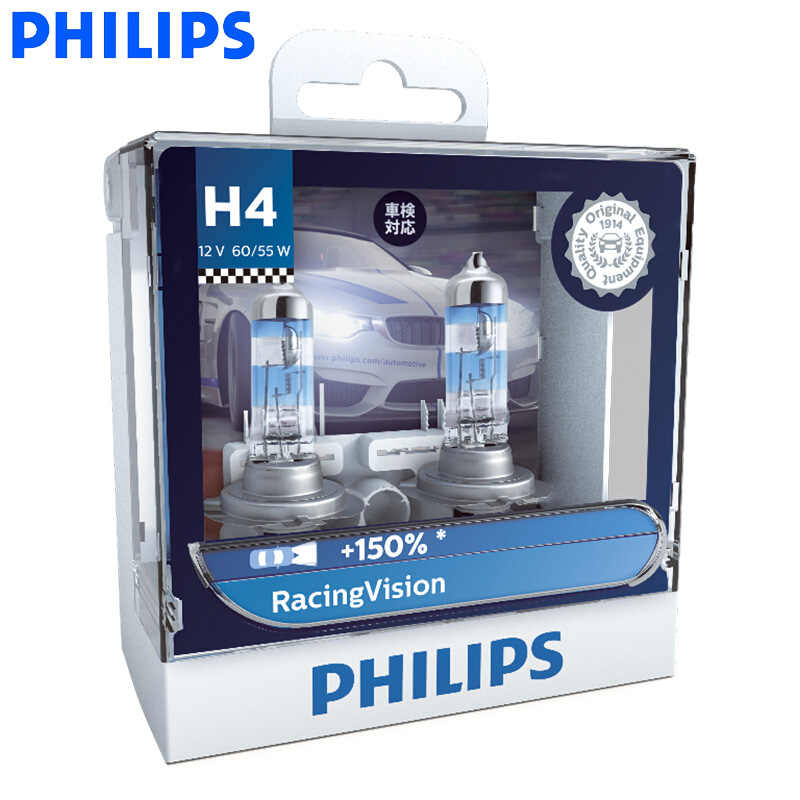 Philips H4 H7 9003 Racing Vision + 150% больше яркости авто фары Hi/lo луч галогенная лампа ралли производительность ECE, пара
