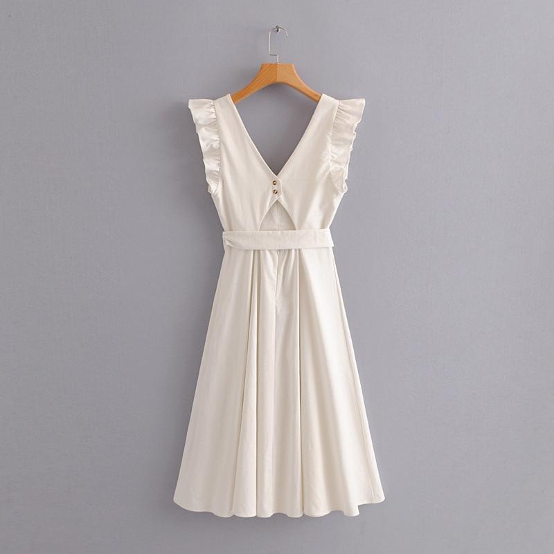 01e8406cf6e ... elegant ruffless white linen dress women sleeveless backless bow midi  dress Summer pocket Casual dress 2018 ...