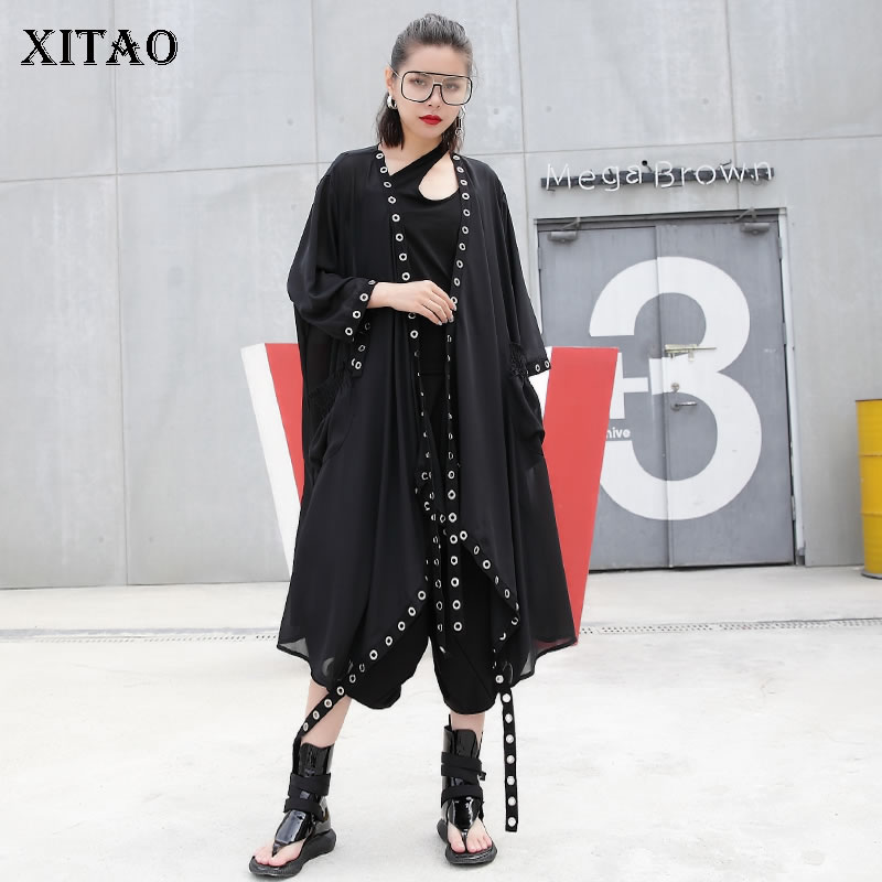 [XITAO] 2019 Europe Casual Loose Three Quarter Sleeve V-neck Asymmetrical Solid Color Fashion Women Summer Long   Trench   LY1091