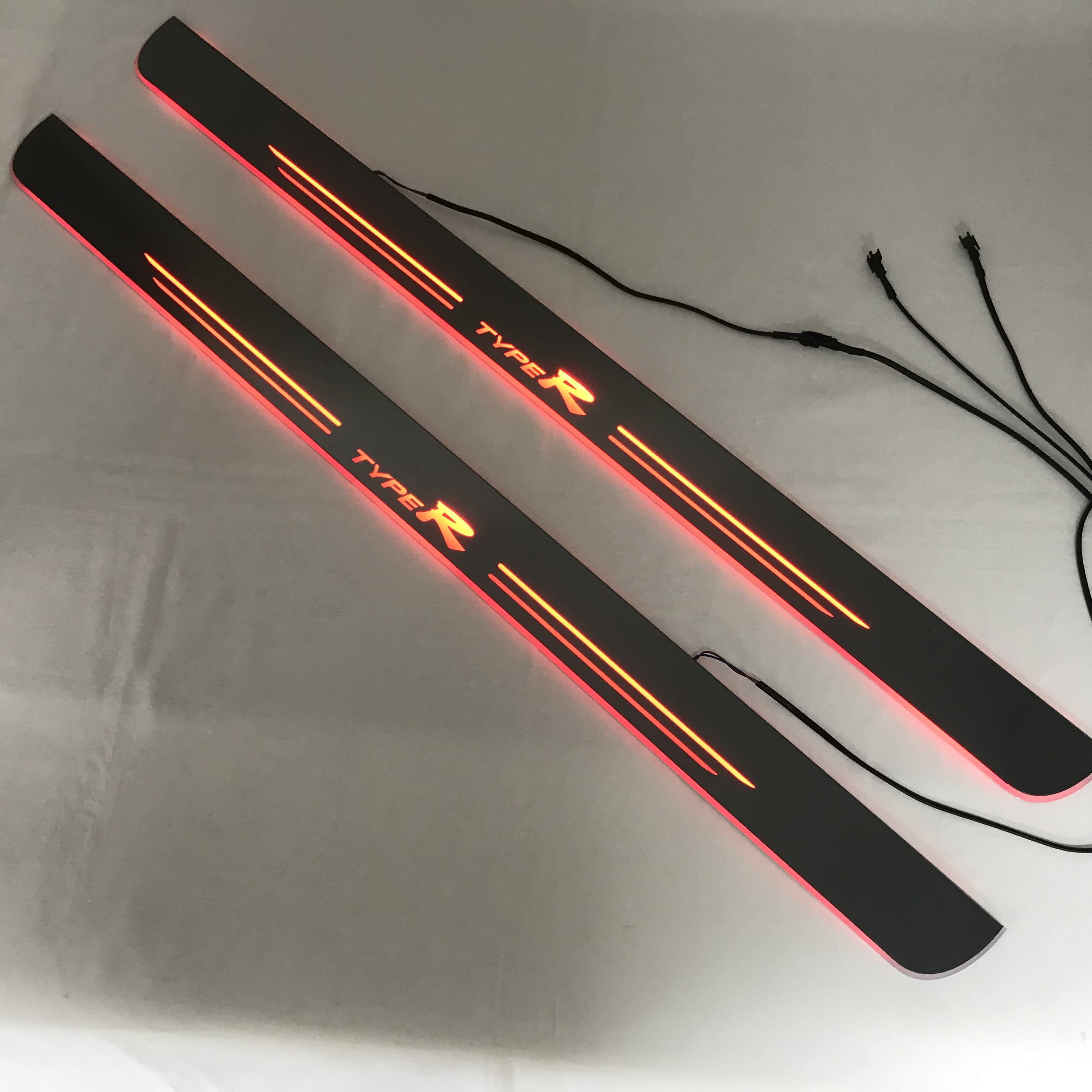 RQXR led seuil de porte mobile pour honda civic type R coupe plaque de seuil de porte dynamique doublure plate superposition flux/lumière fixe, 2 pièces
