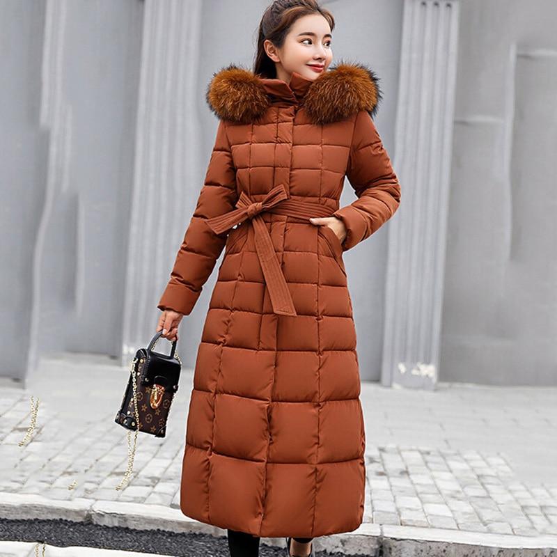 Winter Women Hooded Coat Fur Collar Warm Long Jacket Female Plus Size 3XL Outerwear Ladies   Parka   Chaqueta Feminino