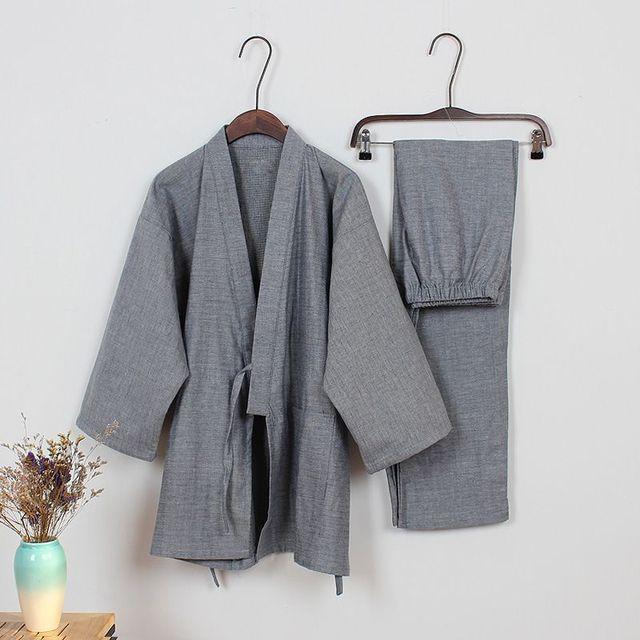 Весна хлопок японский пижамы Мужские кимоно пижамы наборы пижамы Халаты Повседневная Халате Главная Гостиная топ и брюки 122901
