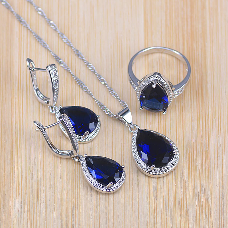 Risenj promotion big water drop blue stone silver color jewelry set for women bridal/engagement/party jewelry