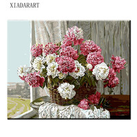 8010 Frameless Pink White Europe Flower DIY Painting By Numbers Acrylic Paint By Numbers Hand Painted