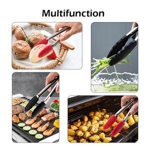 Силиконовые щипцы для кухни из нержавеющей стали, нескользящий зажим для приготовления пищи, инструменты для барбекю, салата, кухонные аксессуары