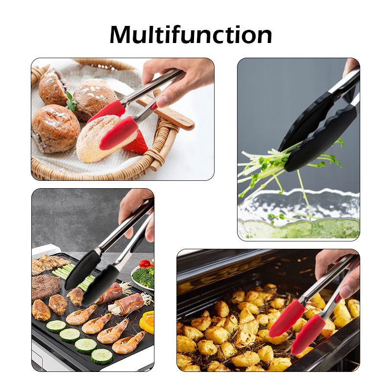 Silicone Food Tong Stainless Steel Kitchen Tongs Silicone Non-slip Cooking Clip Clamp BBQ Salad Tools Kitchen Accessories