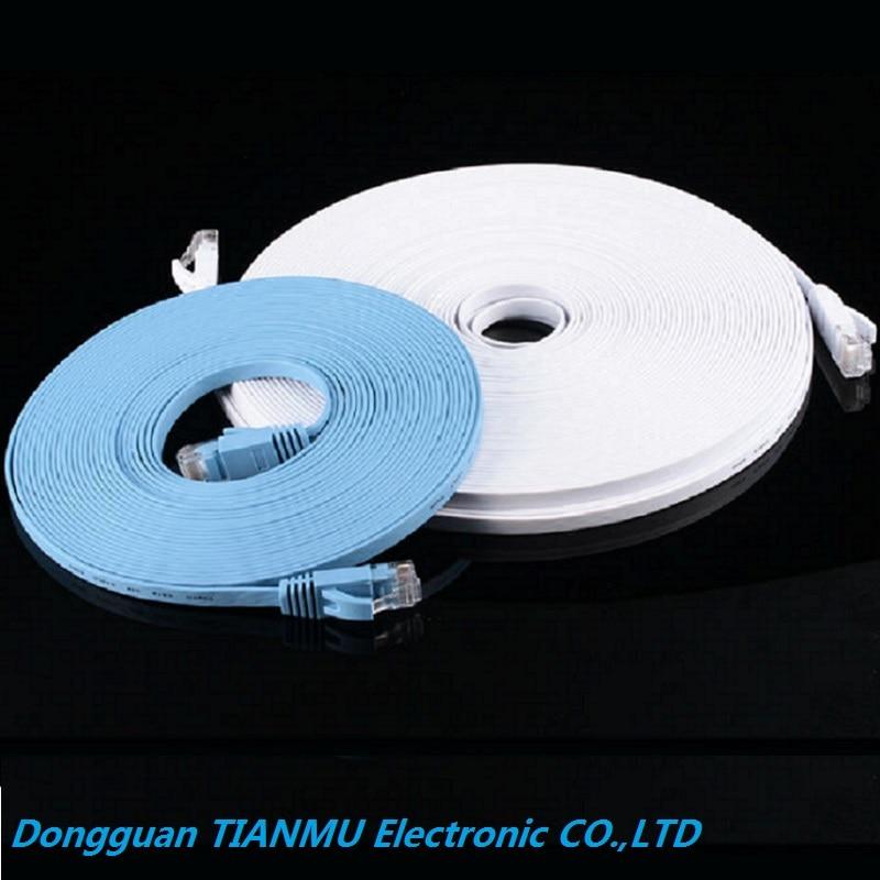 50pcs lot Pure copper wire CAT6 Flat UTP Ethernet Network Cable 20m 66ft RJ45 Patch LAN cable black white color
