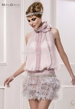 New Arrival Sheath Halter Lavender Long Feather Beaded Chiffon Backless Short Mini Women Party Short Cocktail Dresses 2016