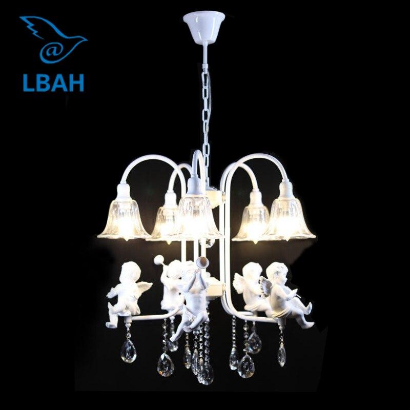 5 tête résine ange pendentif lampe en fer forgé verre cristal personnalité ange restaurant chambre lustres