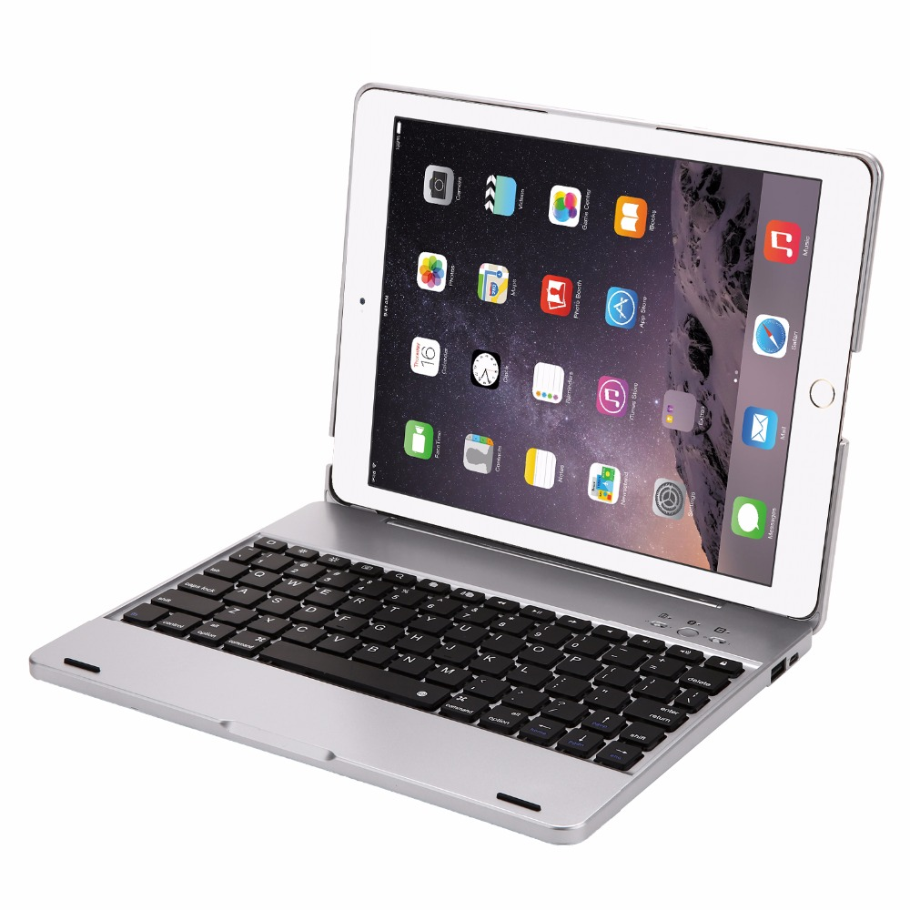 High Quality Wireless Bluetooth Aluminum Keyboard Case For IPAD 2 3 4 A1458 A1459 Keyboard 7 COLOR Backlit Folio Cover Cases