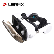 LERMX 3D Glasses VR Box Virtual Reality With Headphone Wireless Bluetooth Game Controller Video Game Private Theater for iPhone