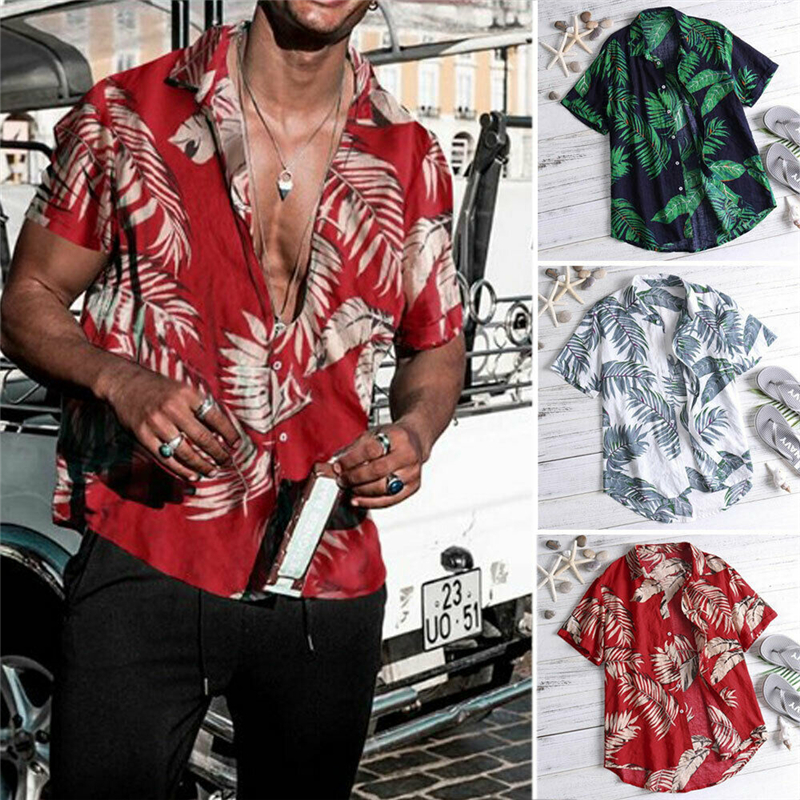 Top Shirts Slim-Fit Leaf-Print Beach-Wear Vintage Casual Summer New Masculina Camisa