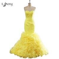 Tinh khiết Màu Modest Mermaid Evening Dresses Dài Strapless Bright Vàng Celebrity Prom Formal Maxi Gowns Cổ Điển Customized Gown