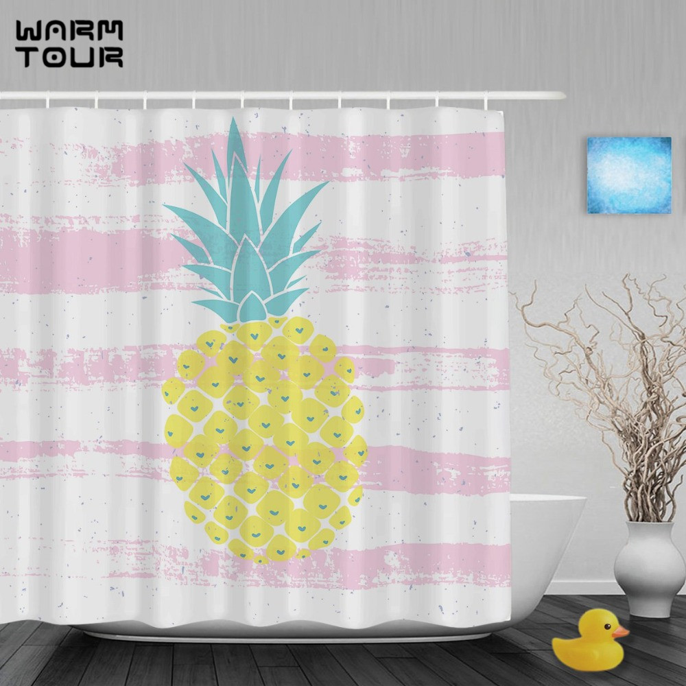 Bright Shower Curtain - Warm tour pineapple love heart decor shower curtain bright yellow striped bathroom shower curtains waterproof fabric