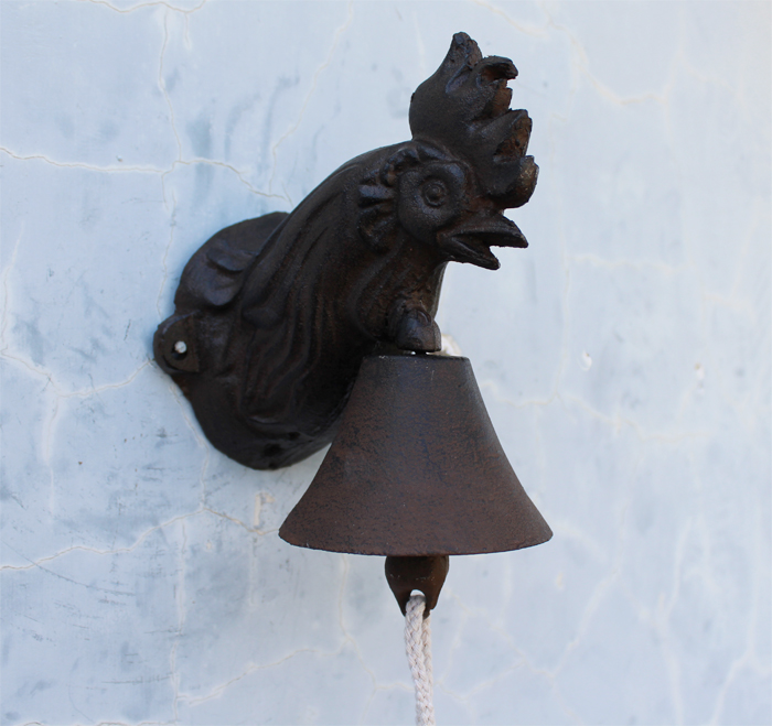 Cast Iron ROOSTER Wall Mounted Bell Ornate Door Bell Doorbell Rustic  Cottage Patio Garden Farm Country Barn Decor Free Shipping In Wind Chimes U0026  Hanging ...