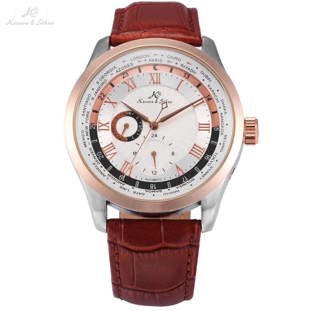 Imperial KS Brand 24Hrs Day Rose Gold Self Winding Relogio Leather Band Analog Automatic Clock Mens