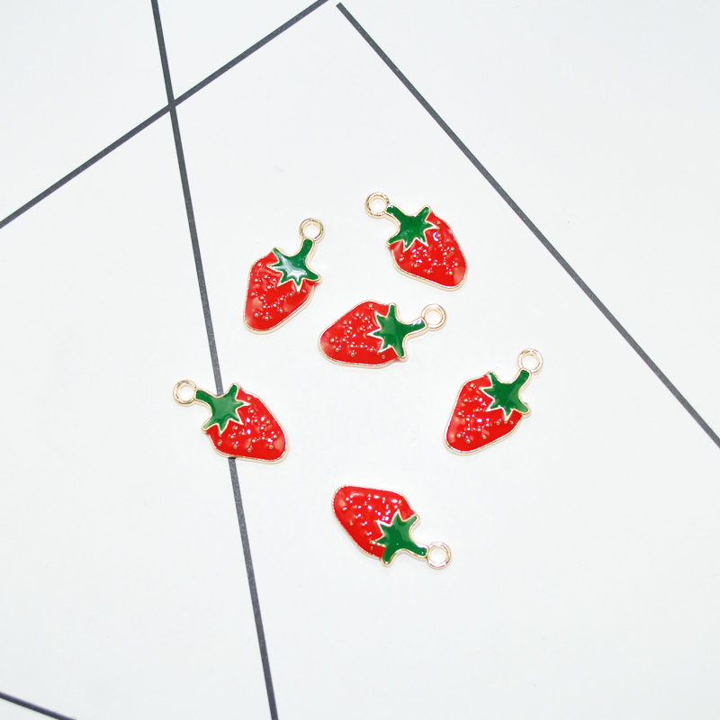 20pcs/lot New Arrival Cute Gold Tone All Enamel Strawberry Charms Pendants For Bracelet Charm DIY Jewelry Findings