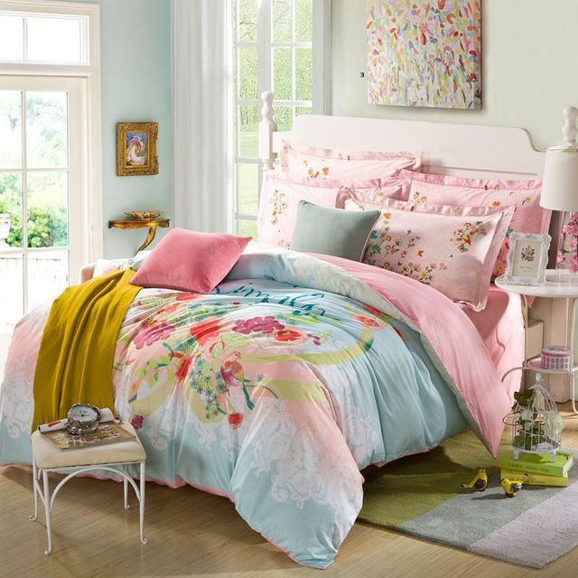 cotton printing queen bed sheets twill edging lace minimalist style wind comforter bedding set queen size