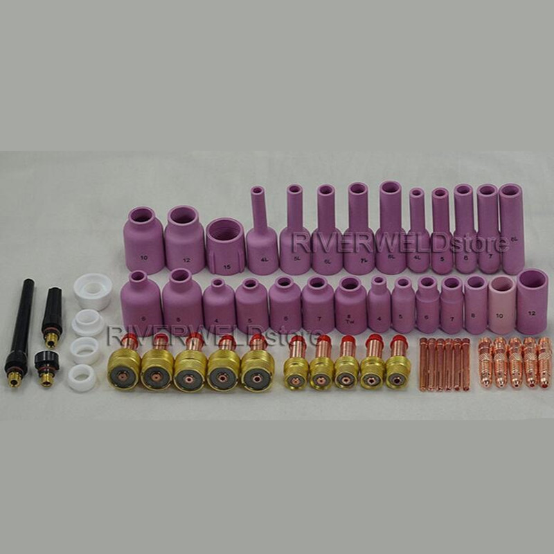 TIG KIT Gas Lens Collet Body & Back Cap & Ceramic Cups Consumables Accessories Fit TIG Welding Torch SR WP 17 18 26 Series, 55PK tig 26 wp 26 wp26 wp 26 tig 26 tig welding torch dinse connection quick connector gas electric seperated 4m