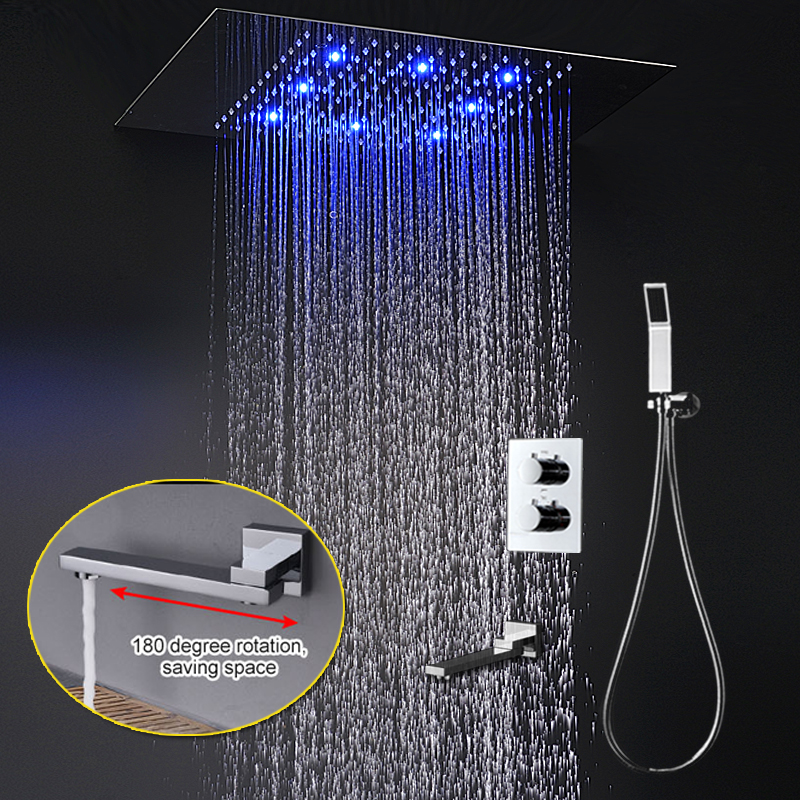 Modern Shower System 360x500mm Large Recessed Ceiling Rain Panel Set Thermostatic 3 Functions Bath With Spout