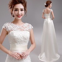 Wedding Dress 2017 Sweet Princess Embroidery Lace Train Wedding Dress Bride Good Quality Plus Size Bandage