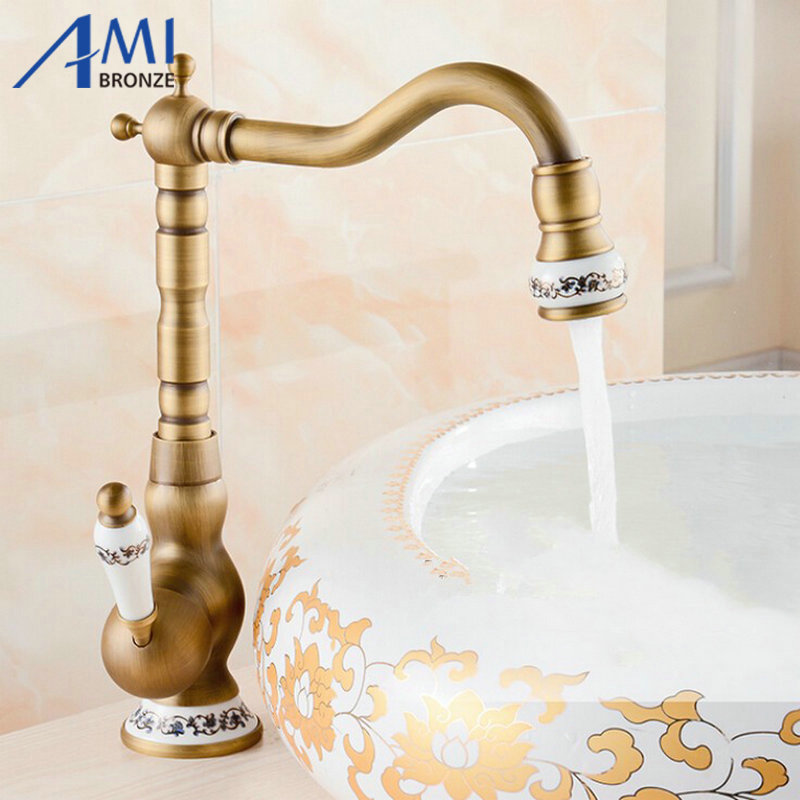 Basin Faucets Home Improvement Ulgksd Bathroom Sink Faucet Antique Brass Basin Faucets Porcelain Ceramic 360 Rotation Torneiras Hot And Cold Mixer Tap Pretty And Colorful