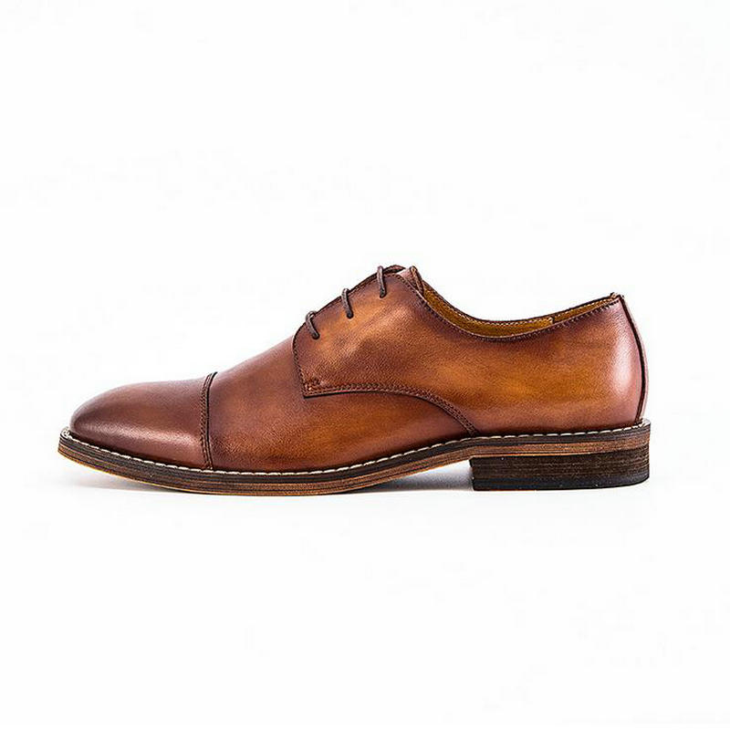 Moda 2020new marki prawdziwej skóry ręcznie robione buty mężczyźni w stylu Vintage Lace up oksfordzie buty dla mężczyzn buty typu casual ze skóry bydlęcej mężczyzna w Oxfordy od Buty na  Grupa 2