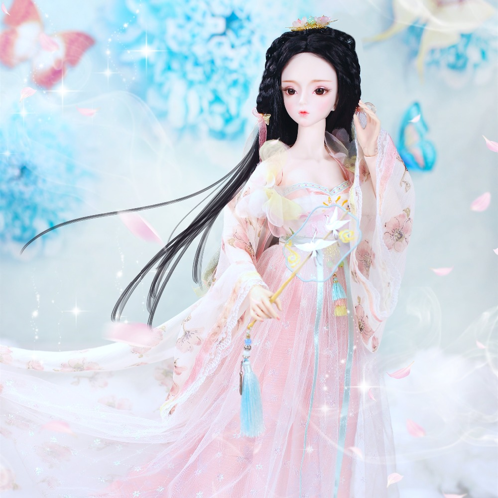 1 3 bjd doll 62cm joint body doll white skin black hair with clothes shoes headdress