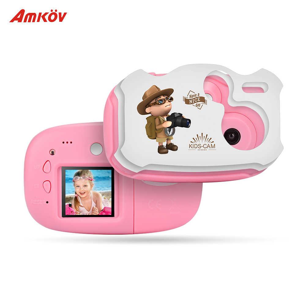 Amkov Mini enfants caméra vidéo numérique batterie intégrée bande dessinée autocollants pour enfants garçons filles noël nouvel an cadeaux d'anniversaire