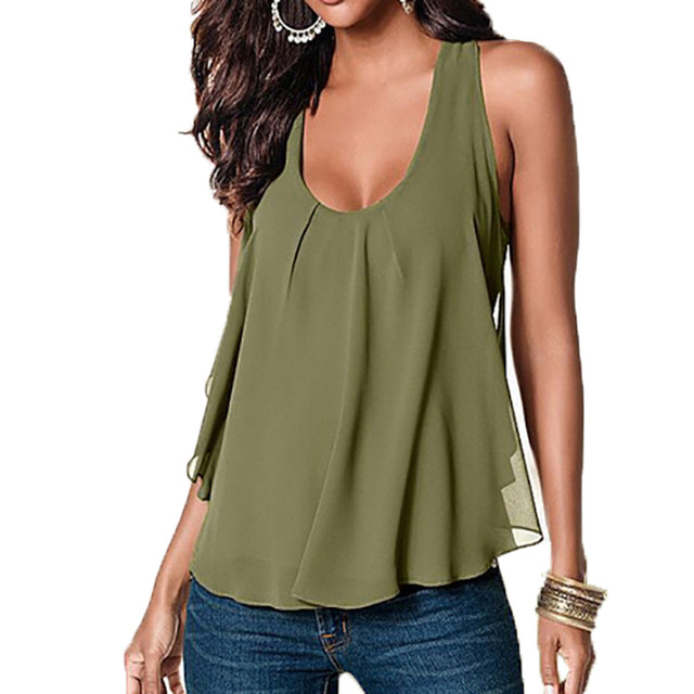 1d21f2eeaf5 ZANZEA 2018 Women Summer Chiffon Tank Top Sexy O Neck Sleeveless Racer Back Tank  Tops Casual Cami Blusa Plus Size 4XL Lady Vest
