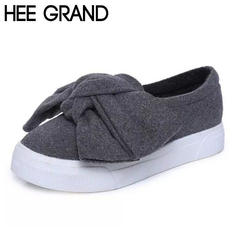 ФОТО HEE GRAND Woman Loafers 2017 Cute Big Knot Autumn Thick Bottom Cotton Febric Woman Casual Slip-on Warm Shoes Woman Flats XWD4097