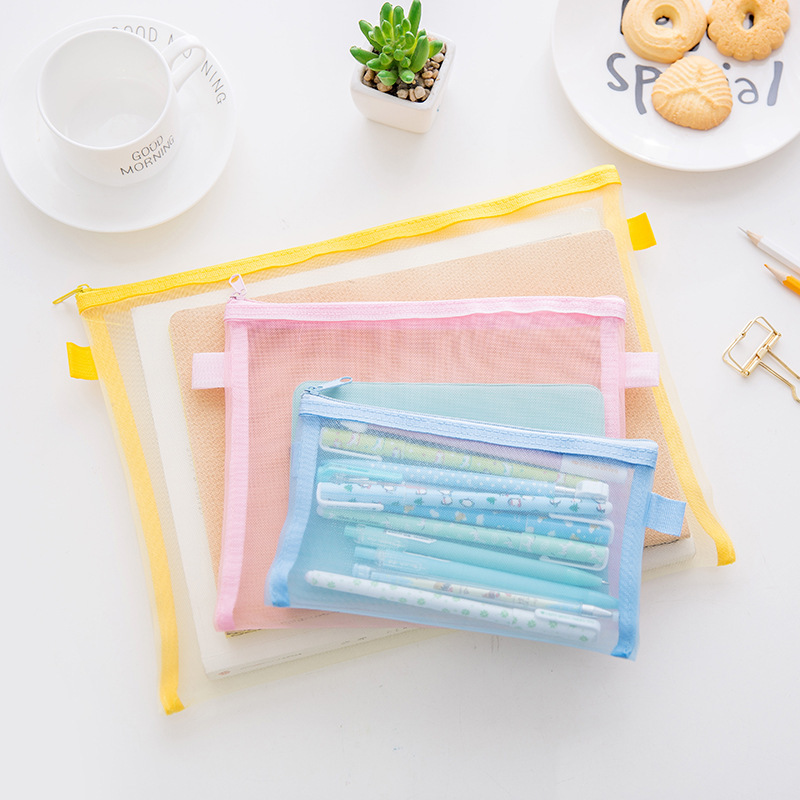 3pcs/pack Fresh Style Cloth Mesh File Folder  Document Colorful Stationery Storage Portable File Bag With Zipper Office Supplies