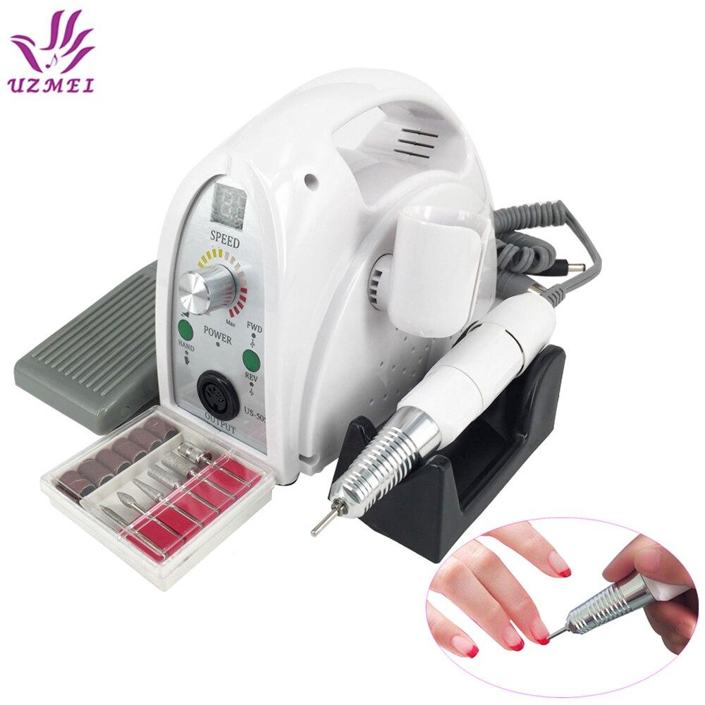 2017 Nouveau 65 w 35000 rpm Électrique Nail Forage Machine Fichier Kit Bits Manucure Pédicure Kits Nail Drill Machine Avec LCD Affichage