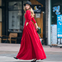 Women Vintage Autumn Dress 2017 New Long Pleated Fit Elegant High Waist Pocket Retro Brand Big