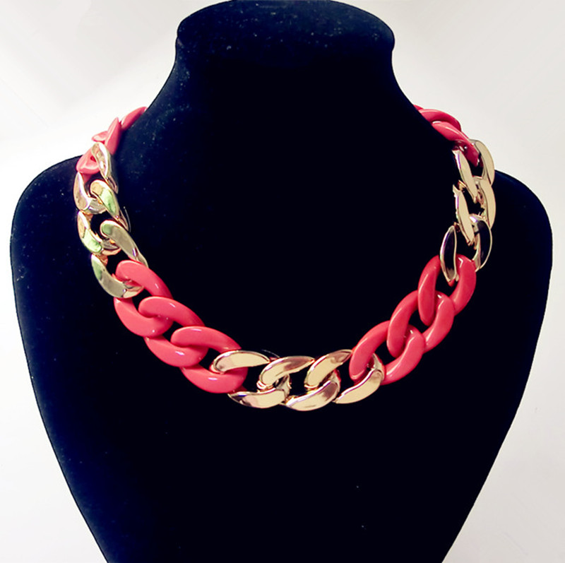 Gold Planted Women Jewelry Chain Choker Chunky Statement Bib Chain Necklace