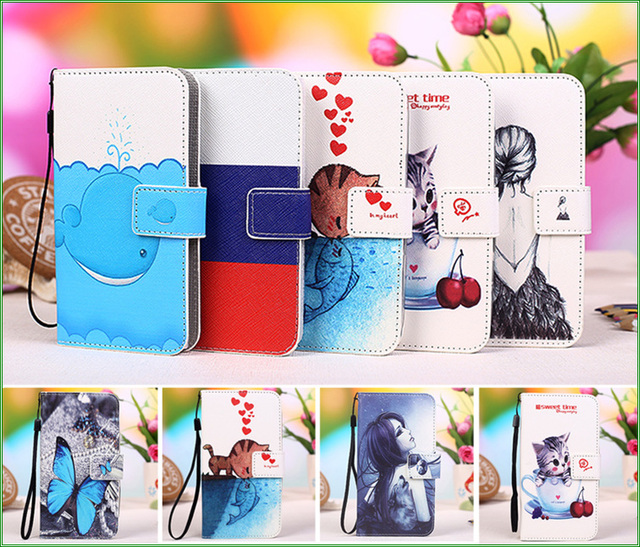 New Colourful Cartoon Patterns PU Leather Cover Case for HTC Desire 326G / Desire 526G dual sim 526G+ Phone Case + Track Code