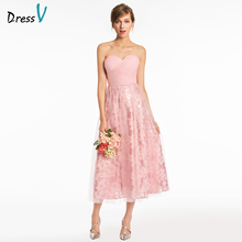 Dressv Pink Sweetheart Neck A-line Bridesmaid Dress Beading Sequins Tea Length Wedding Party Prom Formal Dress Bridesmaid Dress