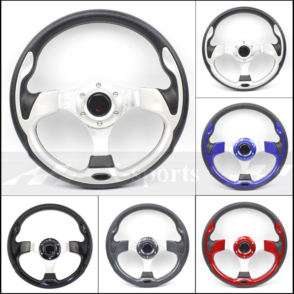 Free shipping universal 13 inches 320MM Aluminum+PU Sport steering wheel racing type volante 4  red blue silver Carbon