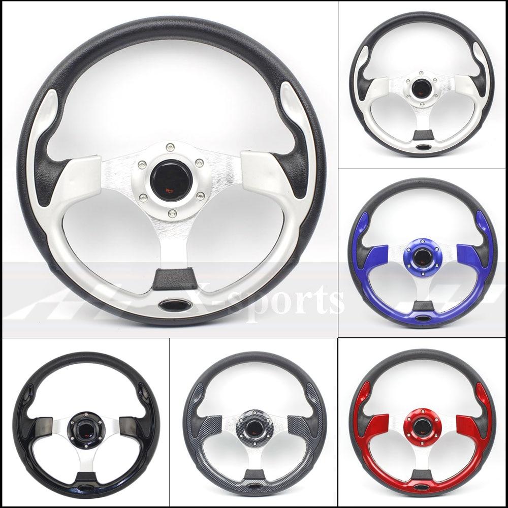 Livraison gratuite universel 13 pouces 320MM aluminium + PU Sport volant course type volante 4 rouge bleu argent carbone