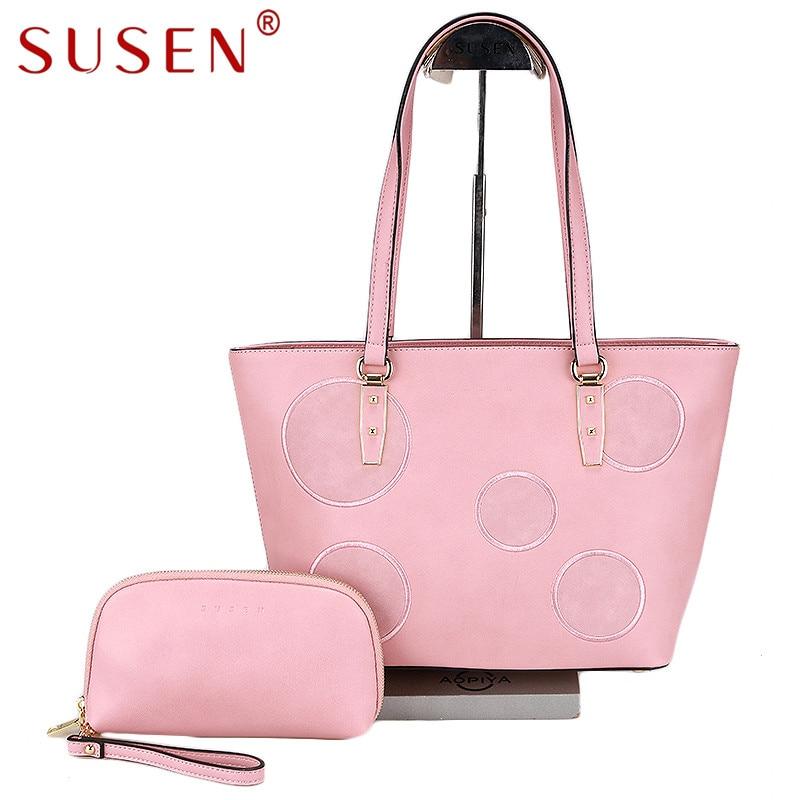SUSEN 4230 high quality Tote Women top PU leather Satchel font b Handbag b font shoulder
