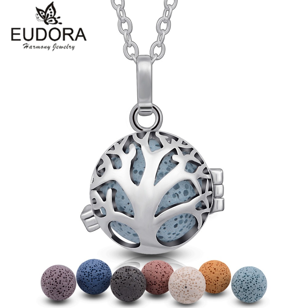 Eudora Harmony Life of Tree Floating Locket 7PCS Volcanic Lava Stone Necklace For Women Aroma Diffuser Locket Pendant Necklace
