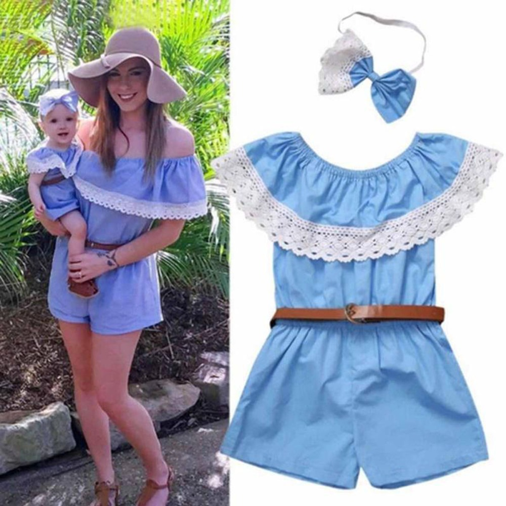 Summer Family Matching Outfits Mom and Baby Parent Children Clothing Blue Mommy and Daught
