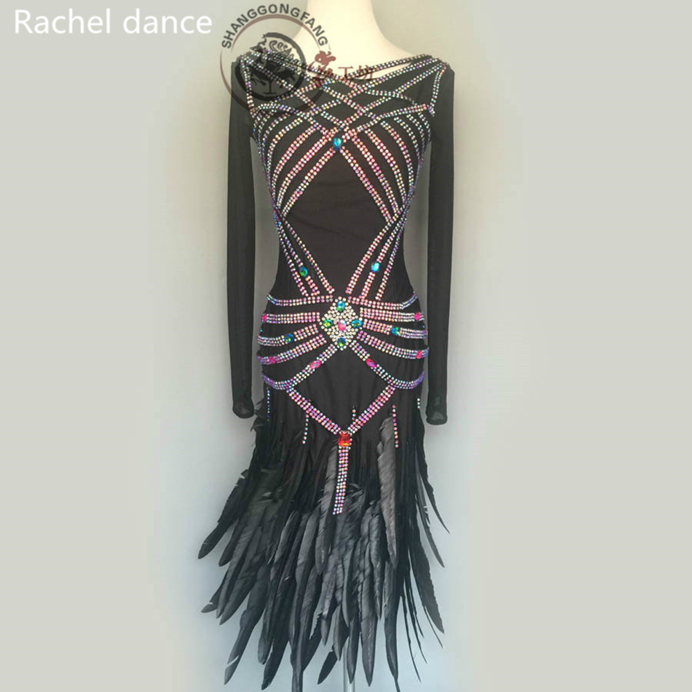 2017 Lady Performance Latin Dance Clothes Senior Women Sequined Tassel Latin Girls Latin Dance For Latin Dance Dress Women