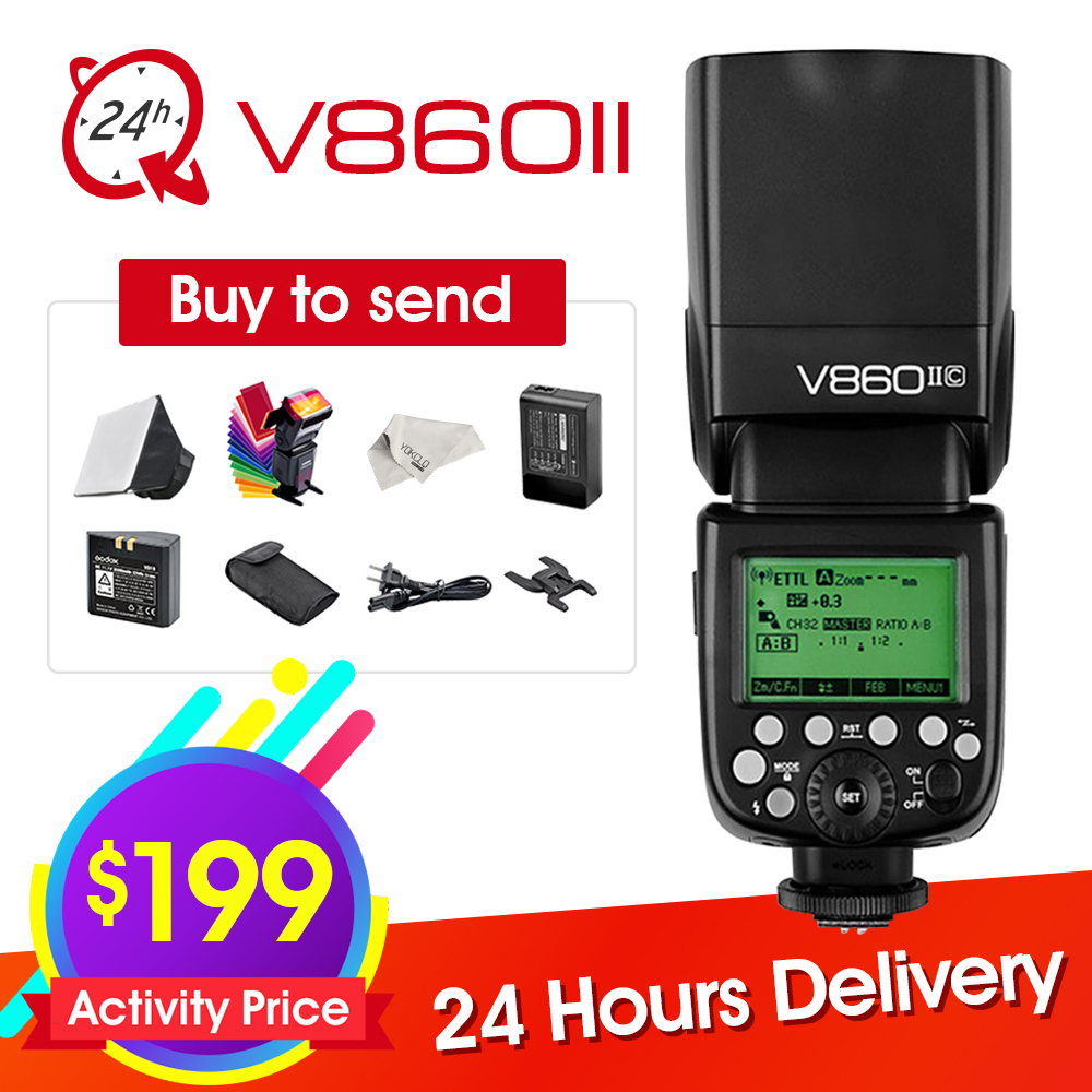 Godox Ving V860II V860II-S/N/C/F/O GN60 E-TTL HSS 1/8000 Li-ion Battery Speedlite Flash for Sony Nikon Canon Olympus Fujifilm godox x1t s ttl 2 4g wireless trigger for sony 2x xtr 16s flash receiver for v850 v860 c v850ii v860iic v860n v860ii f v850ii