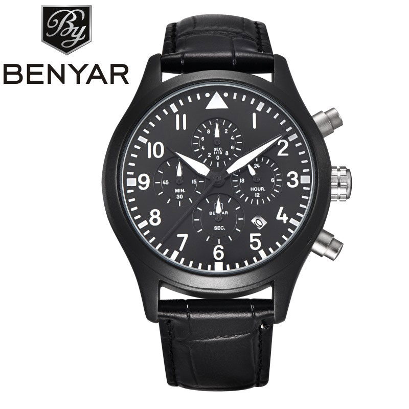 BENYAR 2017 New Arrival Modern Black Chronograph Number Dial Men's Wristwatch Genuine Leather Band Sport Watch Reloj masculino new arrival bamboo men wristwatch classic arabic number dial genuine leather band strap trendy gift quartz watch