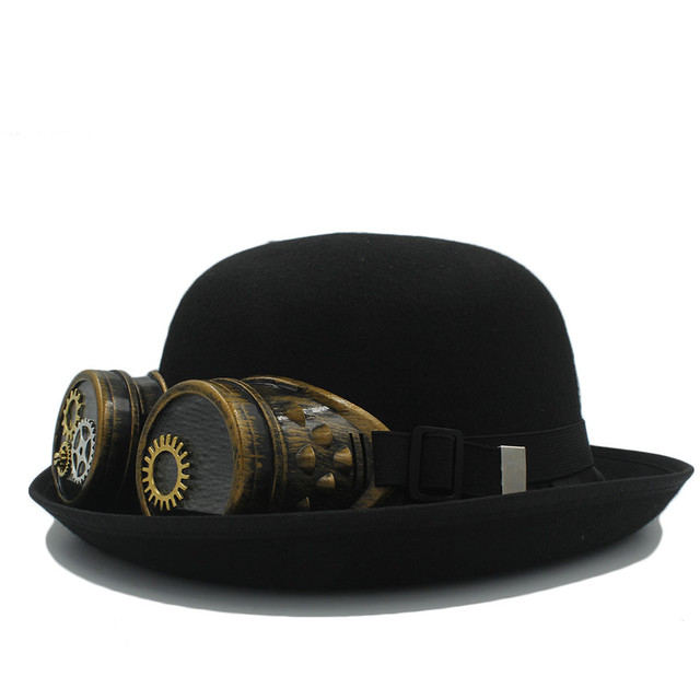 Handwork Women s Men s Black Bowler Steampunk Hat With Gear Glasses For  Cosplay Steam Punk Fedora Star Billycock Party Caps a2d902618653