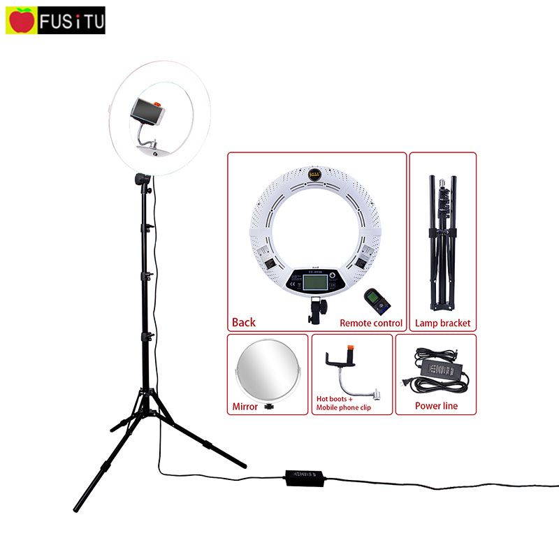 Fusitu White FE-480II 5500K Dimmable Camera Photo/Studio/Phone/Video 18 96W 480 LED Ring Light Lamp with 2M Tripod Bag Kit