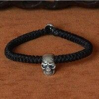 Handmade 925 Silver Skull Beaded Bracelet Braided Skull Bracelet Vintage Sterling Silver Punk Bracelet