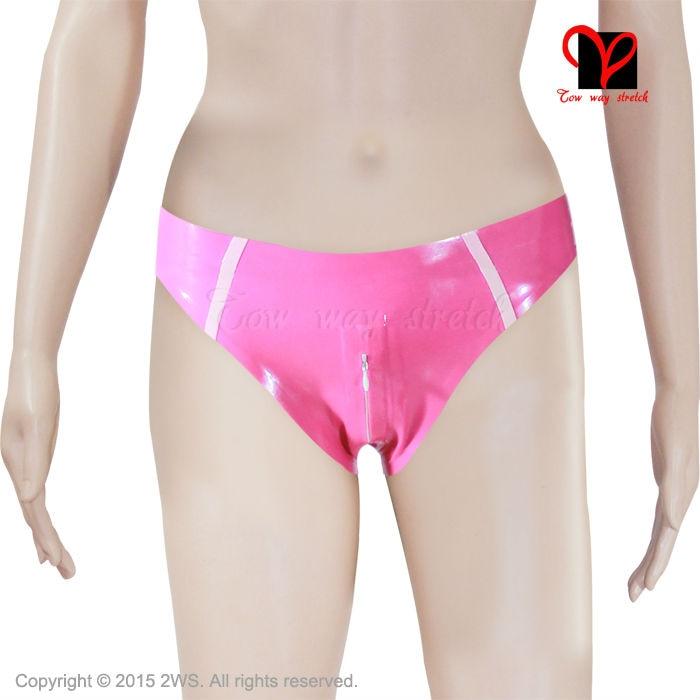 Sexy Sharp pink Latex briefs Crotch Zip Rubber knickers Underpants Underwear pants panty plus size XXXL lingerie short KZ 003