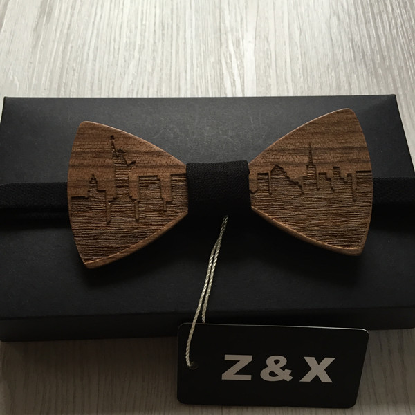 HOT SALE Formal Commercial Wooden Bow Tie Male Solid Color Marriage Bow Ties For Men Butterfly Cravat Wood Bow Tie